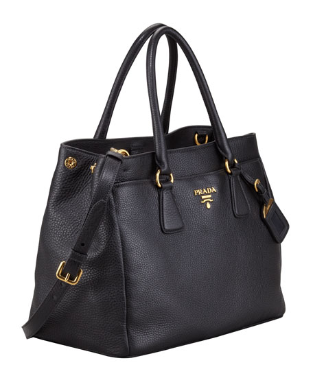 Front-Pocket Daino Leather Tote Bag, Black