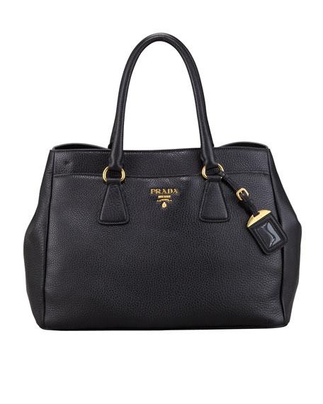 Front-Pocket Daino Leather Tote Bag, Black