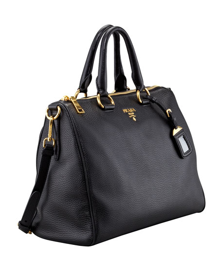 Daino Medium Zip Tote Bag, Black (Nero)