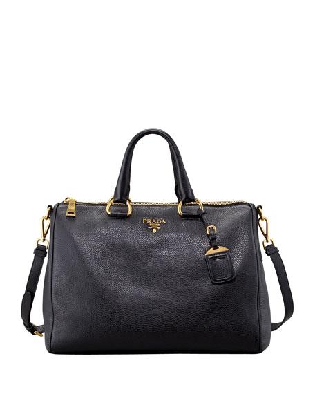 Daino Medium Zip Tote Bag, Black (Nero)