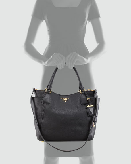 Daino Side-Pocket Tote Bag, Black (Nero)