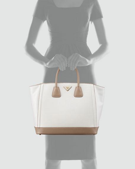 Saffiano Large Bi-Color Tote Bag, Talco/Visone