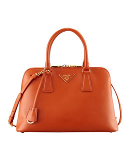 Prada Saffiano Promenade Handbag,  Orange (Papaya)