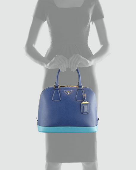 8f139440873e Prada Saffiano Bicolor Dome Bag, Blue/Turquoise
