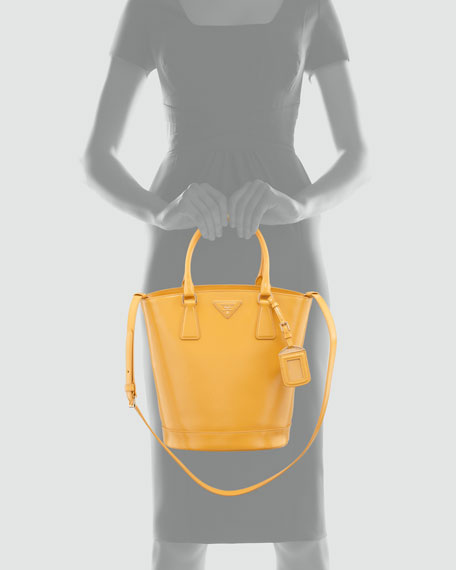 Saffiano Vernice Bucket Bag, Soleil