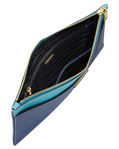 Saffiano Bicolor Pouch, Blue Multi (Bluette/Turchese)