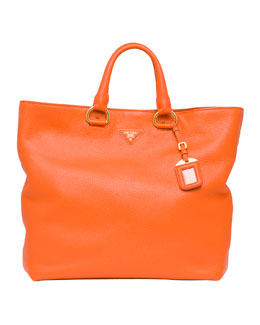 Prada Daino Tote Bag, Papaya