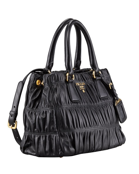 Napa Gaufre Small Satchel Bag, Nero