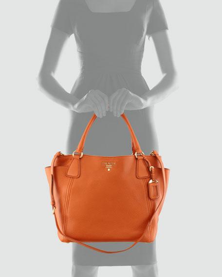7491997513a7ea Prada Daino Side-Pocket Tote Bag, (Orange) Papaya
