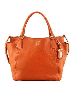 Prada Daino Side-Pocket Tote Bag, (Orange) Papaya