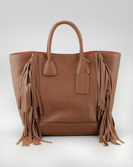 Cervo Fringe Tote Bag, Cammello