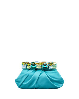 Prada Raso Jeweled Satin Clutch Bag, Turquoise