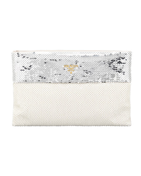 Bicolor Sequined Pouch Clutch Bag, Argento/Talco