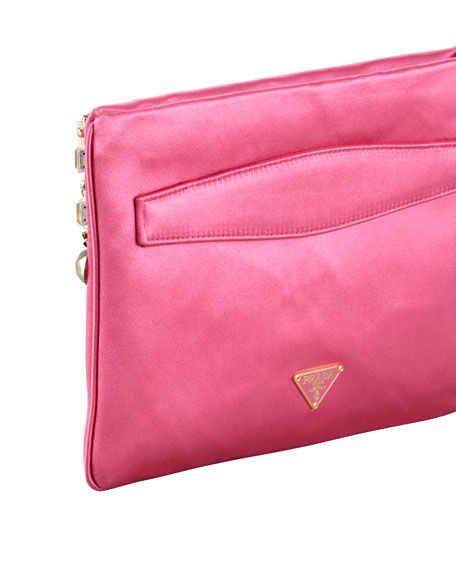 Jeweled Satin Clutch Bag, Fuchsia