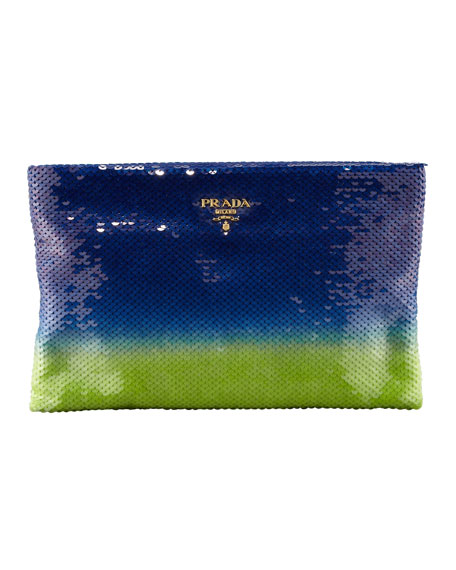 Degrade Sequin Pouch Clutch Bag, Baltico