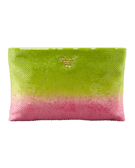 Degrade Sequin Pouch Clutch Bag, Felce