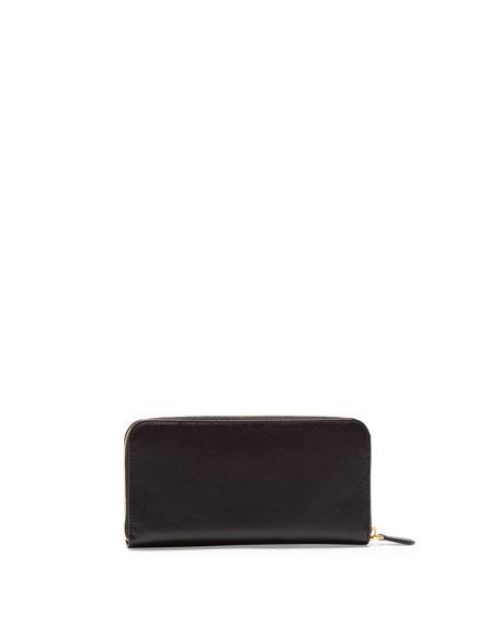 Saffiano Zip-Around Wallet, Black (Nero)