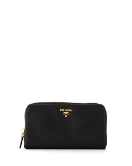Prada Saffiano Zip-Around Wallet, Nero