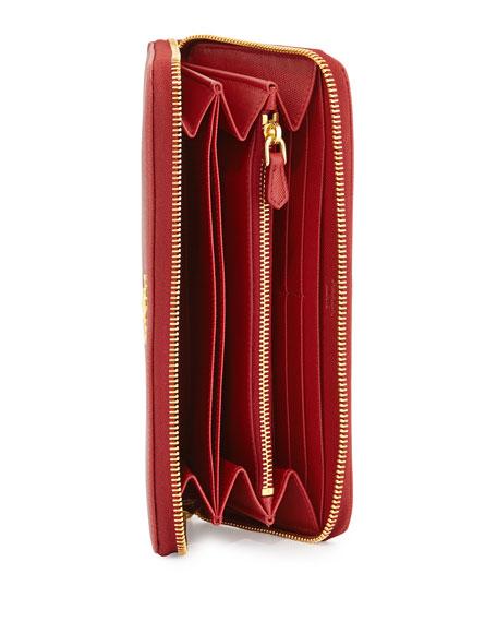 prada black shoulder bag - Prada Saffiano Zip-Around Wallet, Red (Fuoco)