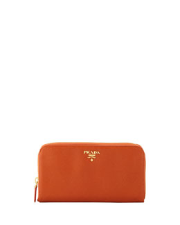 Prada Saffiano Zip-Around Wallet, Orange (Papaya)