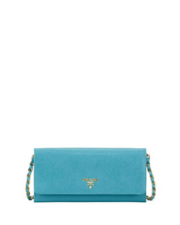 Prada Saffiano Wallet on Chain, Turquoise (Turchese)