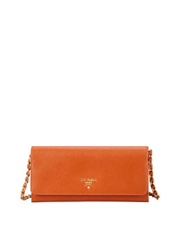 Prada Saffiano Wallet on a Chain, Papaya (Orange)