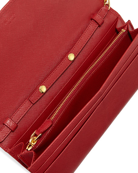 Saffiano Wallet on a Chain, Red (Fuoco)
