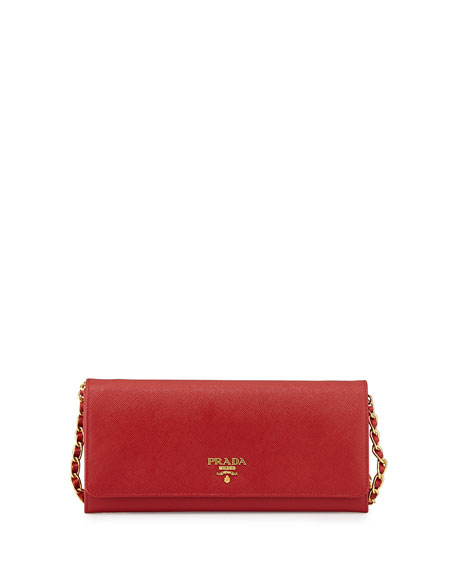 Prada Saffiano Wallet on a Chain, Red (Fuoco)