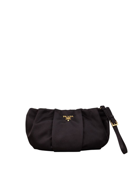 Satin Wristlet Bag, Black (Nero)