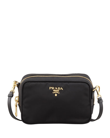 prada black tote - Prada Tessuto Small Crossbody Bag, Black (Nero)