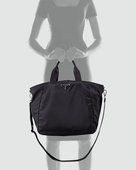 Prada Vela Zip-Top Tote, Black (Nero)