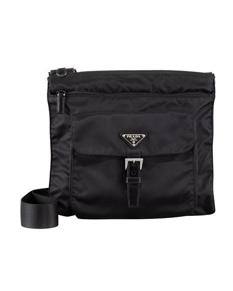 Vela Nylon Messenger Bag, Black