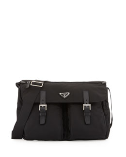 Prada Vela Buckle-Pocket Messenger Bag, Black