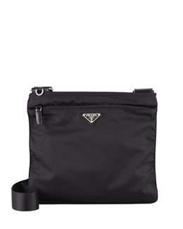 Prada Vela Large Crossbody Messenger Bag, Black (Nero)