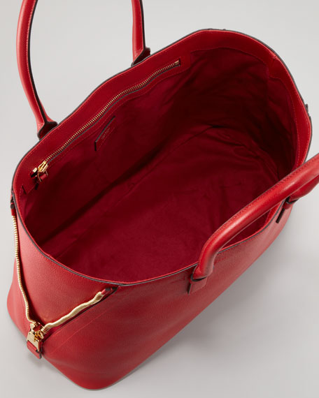 Jennifer Trap Calfskin Tote Bag, Red