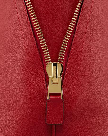 Jennifer Trap Calfskin Tote Bag, Red