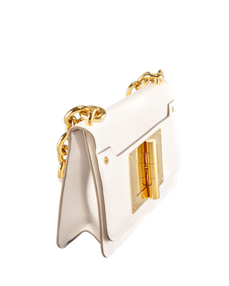 Maxi Chain Ivory Calfskin Shoulder Bag