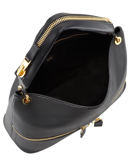 Nina Black Calfskin Hobo Bag
