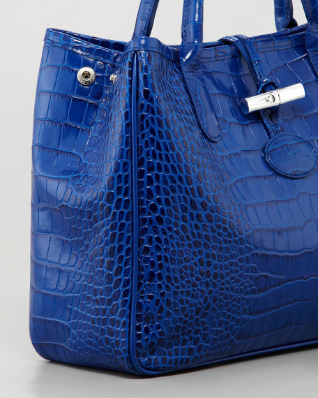 Roseau Crocodile-Embossed Tote Bag, Indigo