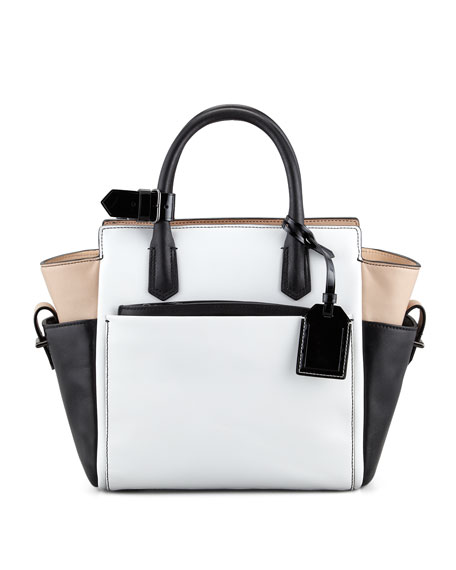 Atlantique Mini Tote Bag, White/Black/Nude