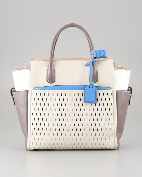Atlantique Tote Bag, White/Multicolor