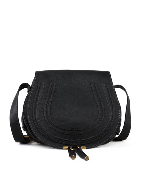 Chloe Marcie Medium Leather Crossbody Bag, Black