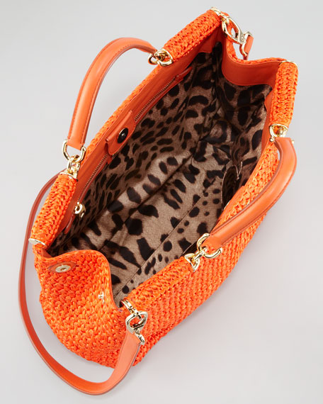 New Miss Sicily Crochet Tote Bag, Orange