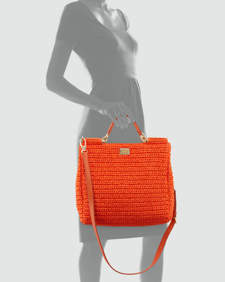 New Miss Sicily Crochet Tote Bag, Orange