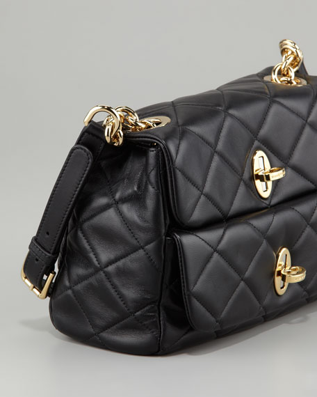 Miss Agnes Quilted Shoulder Bag, Black