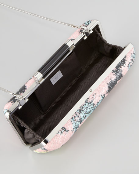 Tonda Printed Sequined Clutch