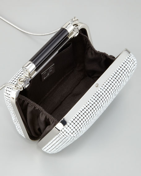 Tonda Small Chain Mail Clutch Bag, White