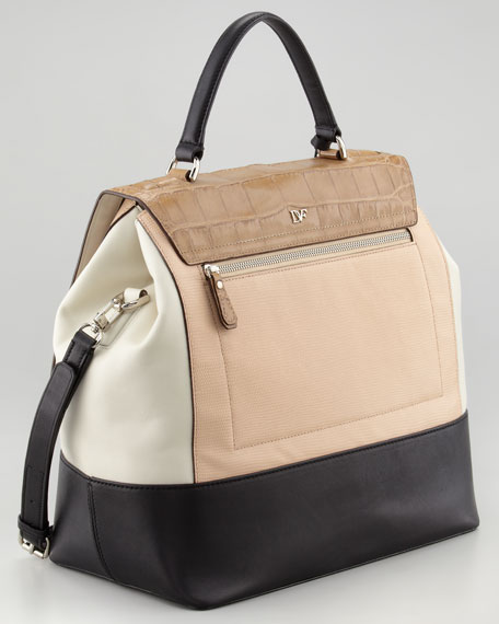 440 Top-Handle Small Satchel, Tan/Salmon/Black
