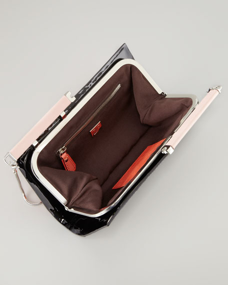 Olivia Lizard-Print Colorblock Clutch Bag
