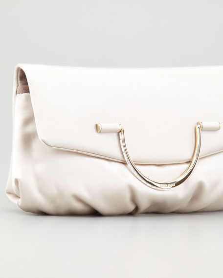 Satin Bijou Pouchette Clutch Bag, Sand